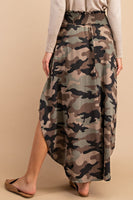 High-rise camo maxi skirt made with smocked paneling at the hips