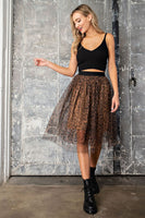 cheetah print mesh skirt with elasticized high-rise waist, and a full lining