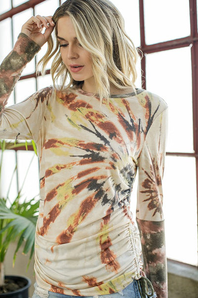 Side Ruched Tie Dye Print Top