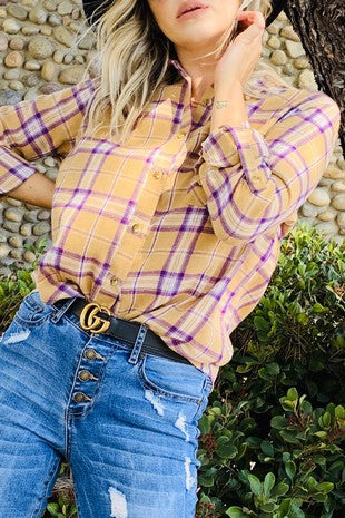 Vintage Plaid Button Down Shirts