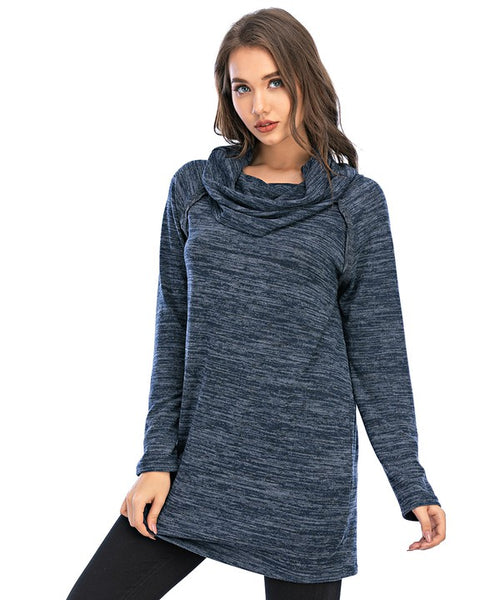 Cowl Neck Mini Knit Dress-NOT AS PICTURED: WE ARE RECEIVING OLIVE