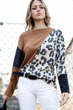 Diagonal Long Sleeve Color Block Cheetah Top