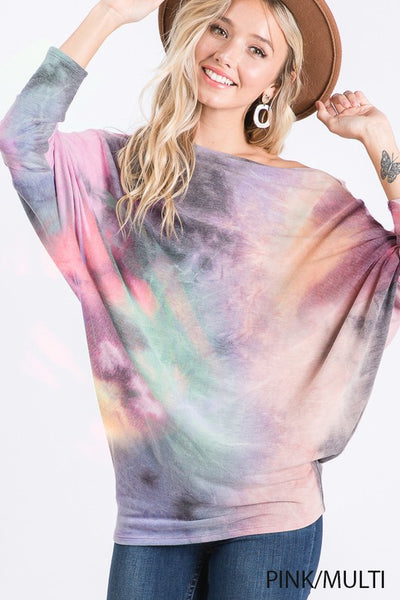 TIE DYE TOP WITH ONE OFF SHOULDER DETAIL