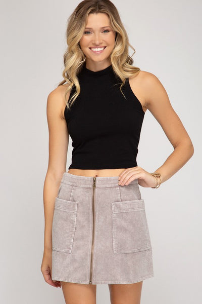 CORDUROY MINI SKIRT - stone