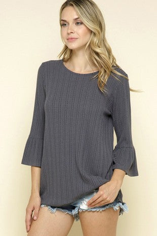 OLIVE Solid ruffle sleeve knit dressy top (not gray as pictured)