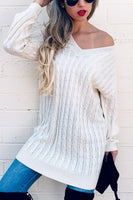 Textured V Neck Casual Sweater Tunic Dress