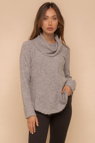 COWL NECK TEXTURE DETAILS SWEATER PULLOVER