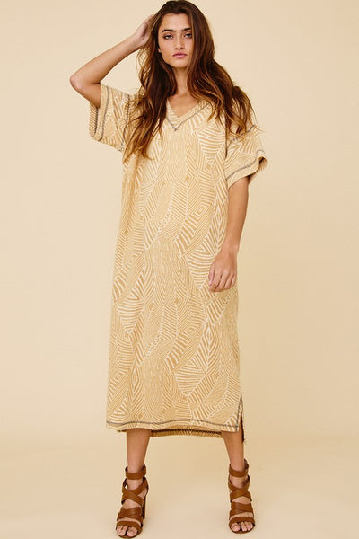 Aztec Print V-neck Midi Dress
