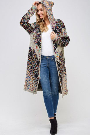 Sweater Long Sleeve Hooded Long Cardigan Rainbow Multi Pattern.