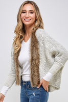 Sweater Cardigan with Faux Fur Trim