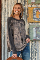 Aztec Print Raglan Tunic Top -Round neck -Long drop shoulder sleeve -Relaxed fit