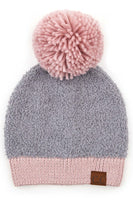 C.C Knitted Sherpa Beanie with Contrasting Color
