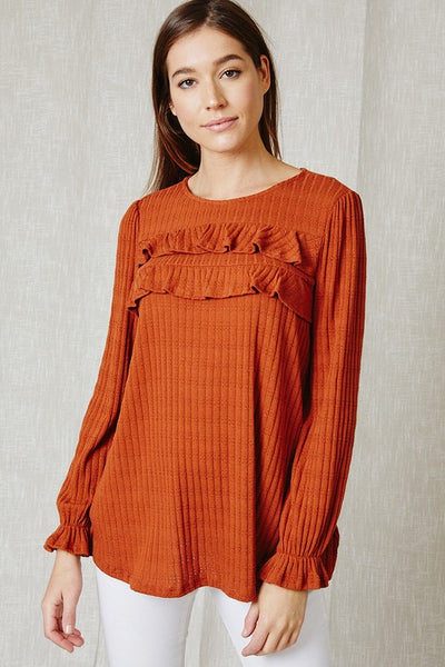 Solid Ruffle Detail Top