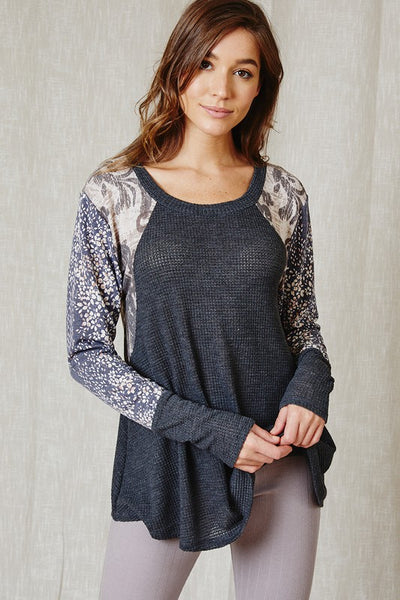 Textured Top With Multi-print Details