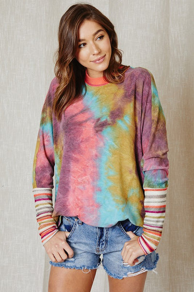 Tie dye print top with contrast knit sleeve