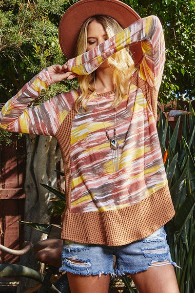Multi Color Print Tunic Top