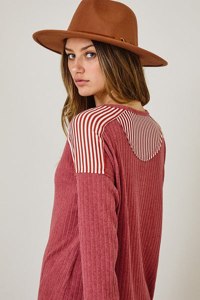 Wide Rib Fabric Henley Top