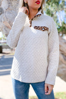 Quilted Knit Half Snap Button Top