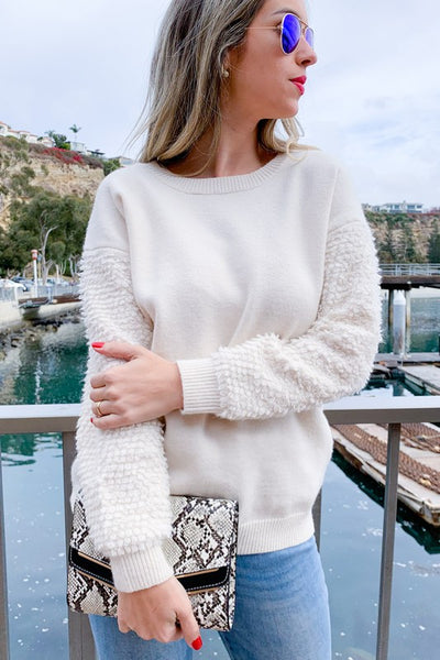 Teddy Bear Textured Sleeve Cozy Pullover Sweater