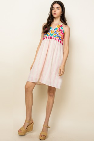 Halter Stripe Embroidered Dress