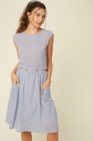 Stripe button waist dress with patch pockets