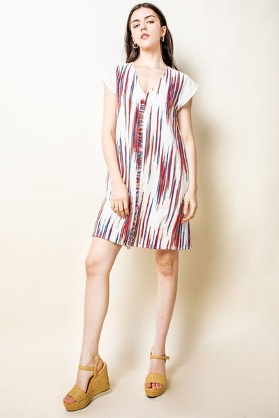 V-Neck Embroidered Shift Dress