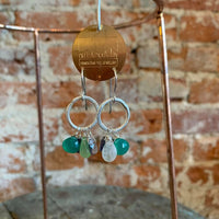 hammered silver hoop earrings with green gemstone combination