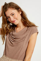 Ribbed cowl neck short sleeves knit top