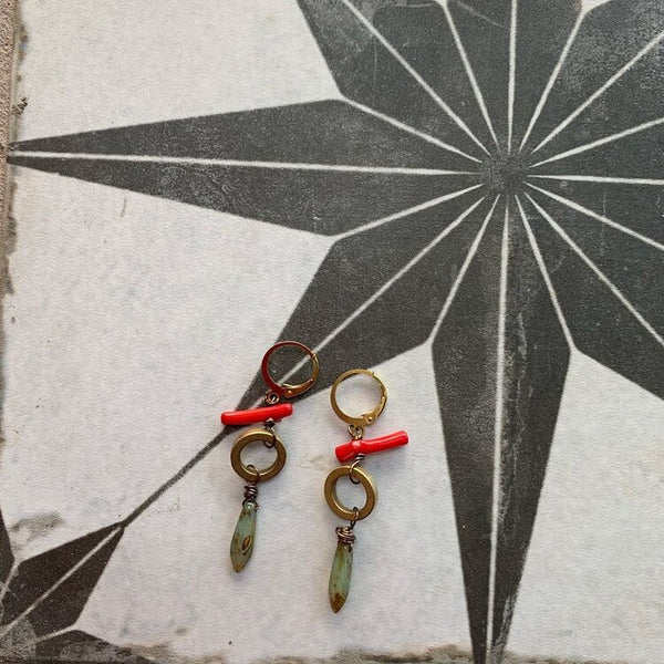 Red stone earring