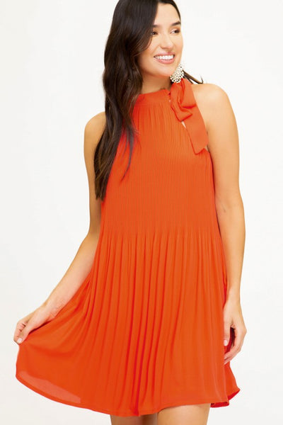 PLEATED WOVEN HALTER NECK DRESS