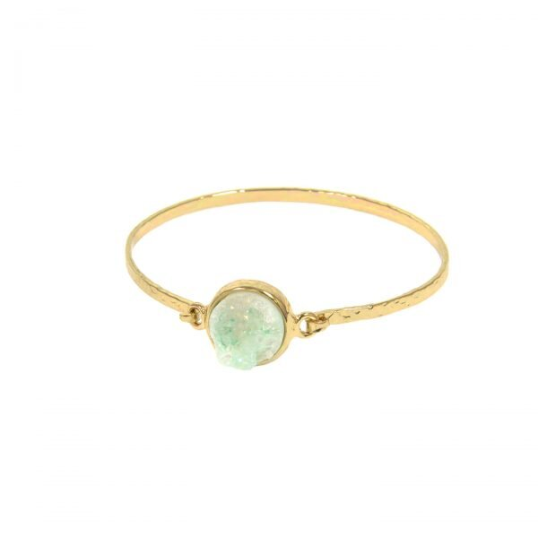 Mint Round Druzy Latch Bangle