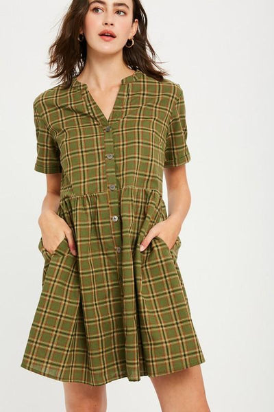 Plaid Front keyhole accent button down tunic dress