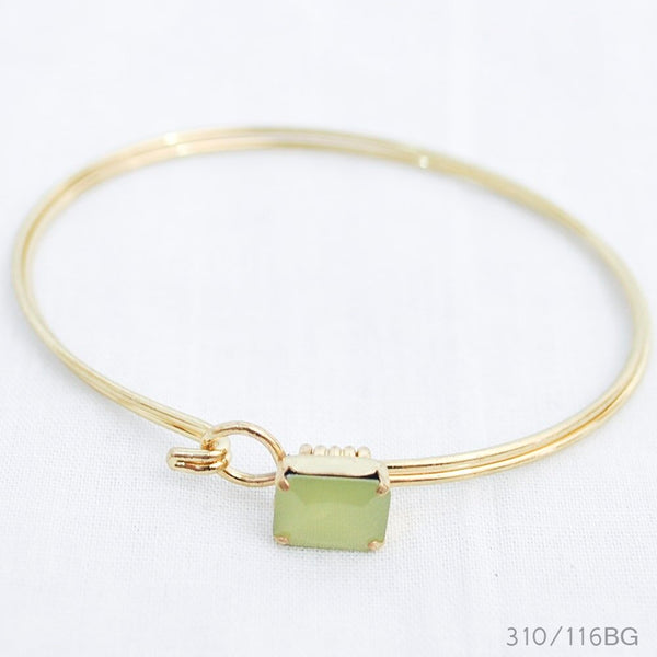 Peridot Square Latch Bangle
