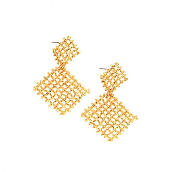 Square waffle post earring