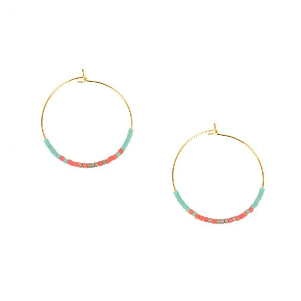 Endless hoops with beads earrings