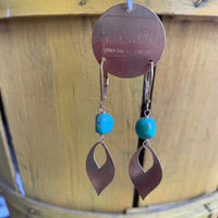 Brass earrings with leverback and aqua glass