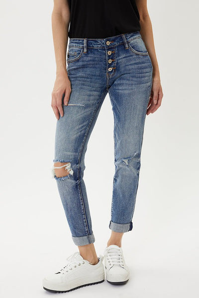 Mid Rise Button Fly Mom Jeans - KC5118D