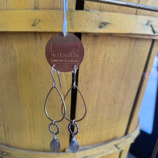 brass and sterling silver dangle earrings with labradorite stone