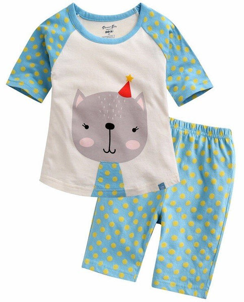 3/4 Sleeves top & bottom Set - Birthday Cats