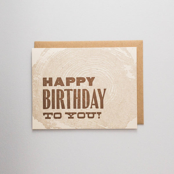 Happy Birthday Woodgrain Letterpress Card