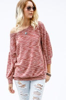 Hacci knit bubble sleeve boatneck top