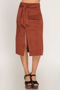 FAUX SUEDE MIDI SKIRT WITH SIDE TIE AND SLIT