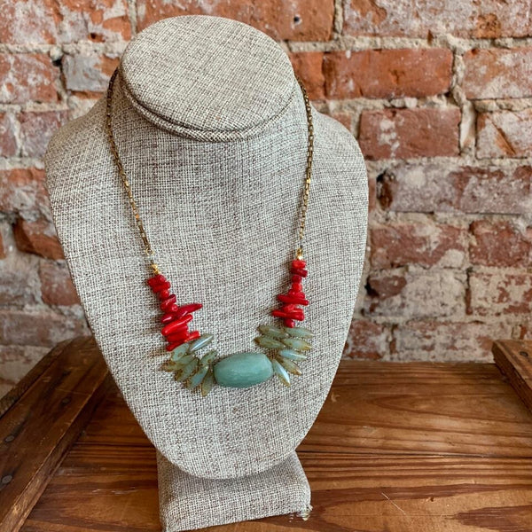 Chunk Jade and Coral Tribe Necklace