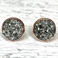Pewter Druzy Earrings 12mm