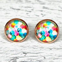 Rainbow Geometric Earrings 12mm