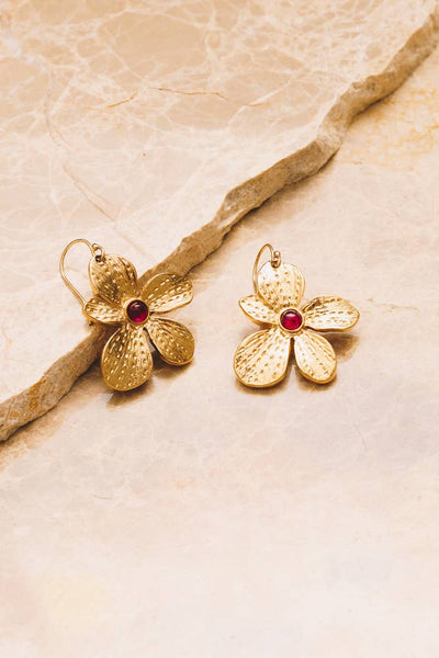 Fleur Earrings | Salmon Coral & Garnet | 18k Gold Plating