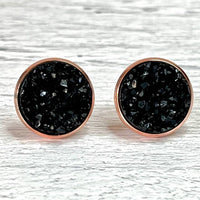 Black Druzy Earrings 12mm