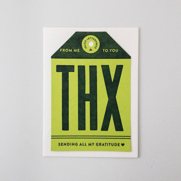 Green THX Tag Letterpress Card
