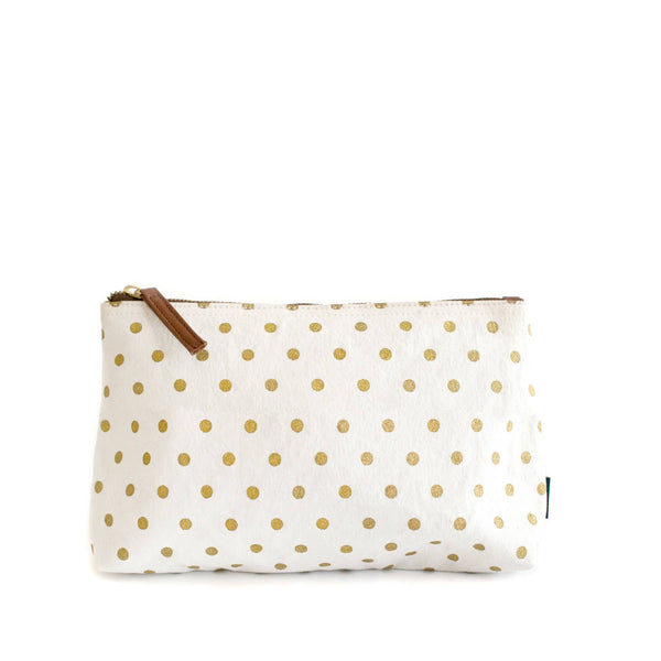 Dots Gold Canvas Pouch Large