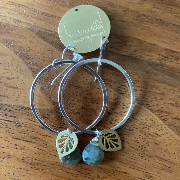 Stealing hammered hoops with brass leaf and labradorite
